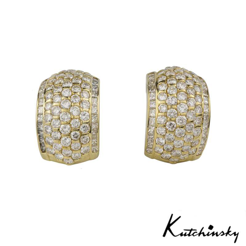 Kutchinsky 18k Yellow Gold Diamond Set Earrings 7.16ct